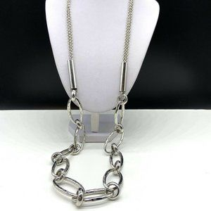 Chico's Silver Tone Long Chain Statement Necklace